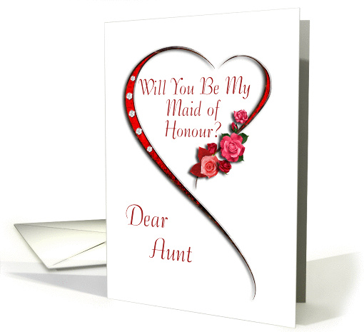 Aunt, Swirling heart Maid of Honour invitation card (989975)