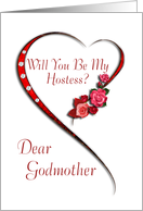 Godmother, Swirling heart Hostess invitation card