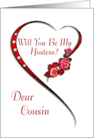 Cousin, Swirling heart Hostess invitation card