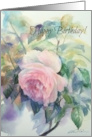 Happy Birthday, Watercolor Rose Painting card