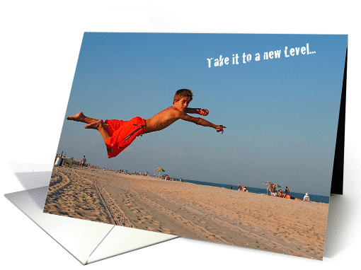Encouragement, boy leaping on beach card (522714)
