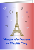 Happy Anniversary on Bastille Day/Eiffel Tower/Blue White Red/Custom card