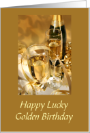 Golden Lucky Birthday With Champagne Filled Glasses And Gold Ribbons card