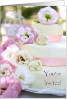 Invitation To A Summer Wedding With Cake And Flowers card