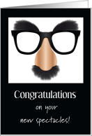 Congratulations New Glasses Satire Big Nose Furry Eye Brows Mustache card