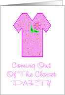 Coming Out Party-Pink TShirt-Flower Design card
