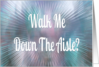 Will You Walk Me Down The Aisle? Purple and Blue Abstract card