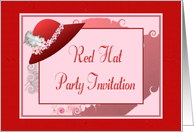 Red Hat Party Invitation-Feather-Blossom-Red Hat Design card