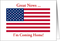 Coming Home Announcement From Service Patriotic American Flag card