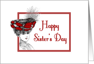 Happy Sister's Day-Victorian Lady In Red Hat-Old Fashion card