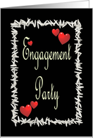 Black Engagement Party Invitation-Ivory on Black-Rice and Hearts card