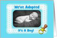 Baby Boy-We've Adopted-Yellow Pacifier-Blue-Custom Photo Card