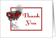 Thank You-For Hospital Visit-Lady in Red Hat card