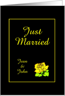 Just Married Mr. and Mrs.-Yellow Rose-Custom Card