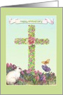 Anniversary on Easter illustrated Bunny & Cross card