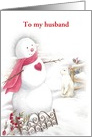 Same Sex Husband Christmas Snowman with Heart card