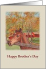 Happy Brother's Day Equestrian & Red Barn card