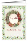 Teacher of the Year Congrats Winter Wreath custom front card
