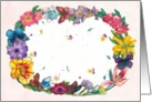 hand painted floral-butterfly wreath all occasion card