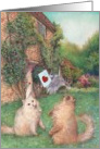Anniversary Cats English Cottage Illustration card