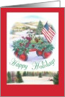 Happy Holidays Winter Patriotic Traditional Landscape card