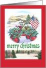 Merry Xmas Winter Patriotic Traditional Landscape card