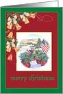 Xmas Bell & Holly Patriotic Traditional Landscape card