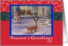For Neighbor Cozy Xmas Cottage & Winter Snowman card