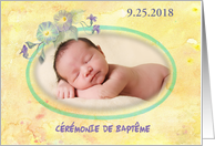 French Christening Invite Personalize Floral card