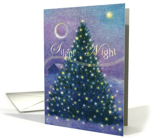 SILENT NIGHT twinkling christmas pine card (528184)