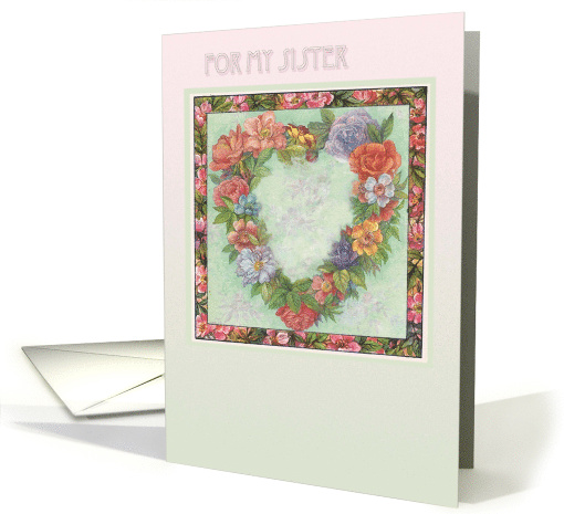 valentine for sister illustrated heart wreath card (747492)