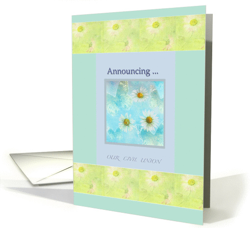 Civil Union Announcement Daisy Blue Butterfly Illustration  card