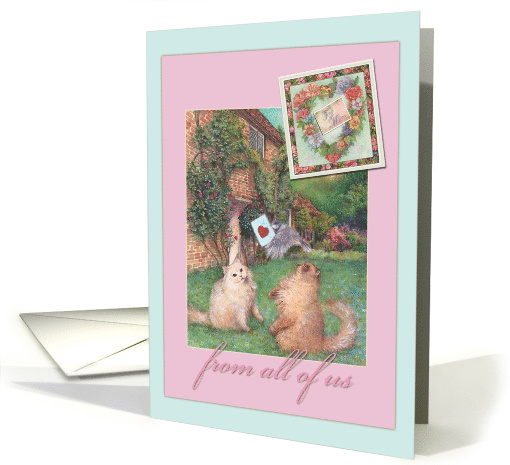 For Mom cats in garden special delivery illustration card (933960)