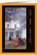 Halloween haunted house invitation, black cat graveyard card