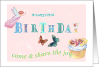 1st Birthday Personalize Magical Fairy & Cupcake Party invitation, card