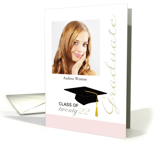 2020 Pretty in Pink High School Graduation party invitation card