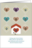Paw prints on your heart Congratulations Pet Adoption card