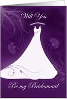 Violet be my bridesmaid card