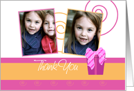Cheerful custom double photo card birthday thank you for the gift card