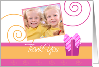 'Cheerful Pink and Orange' Birthday Thank You card