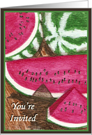 You're Invited Watermelon Party Card Art by AnnaMarie card