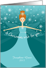 Customizable Name Christmas Wish Fairy with Red Hair on Aqua and Blue card