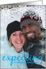 Christmas Pregnancy Photo Announcements Expecting Boy Blue Snowflakes card