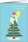 Christmas for Secret Pal Cute Snowman in Tree with Stars Knit Scarf card