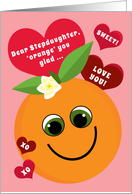 Stepdaughter Valentine's Day Funny Smiling Orange with Red Hearts Pink card