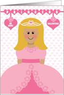 Princess Valentine Young Girl Blonde Hair Pink Roses Valentine's Day card