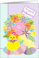 Godparents Happy Easter Cute Yellow Chick Flowers and Eggs card