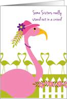 Sister Mother's Day Fun Pink Flamingo Wearing a Hat card