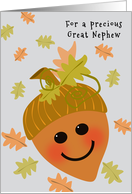 Great Nephew First Thanksgiving Cute Acorn and Falling Oak Leaves card