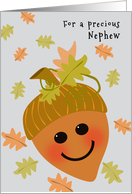 Nephew First Thanksgiving Cute Acorn and Falling Oak Leaves card